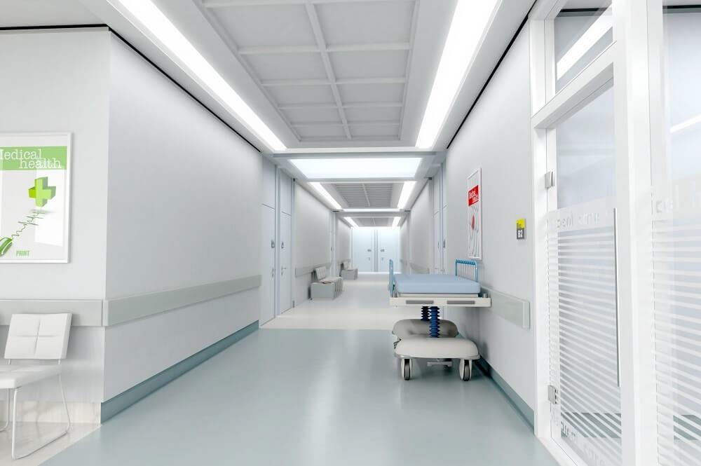 korytarz po dezynfekcji
